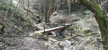 Holzbrücke über den Benninger Bach
